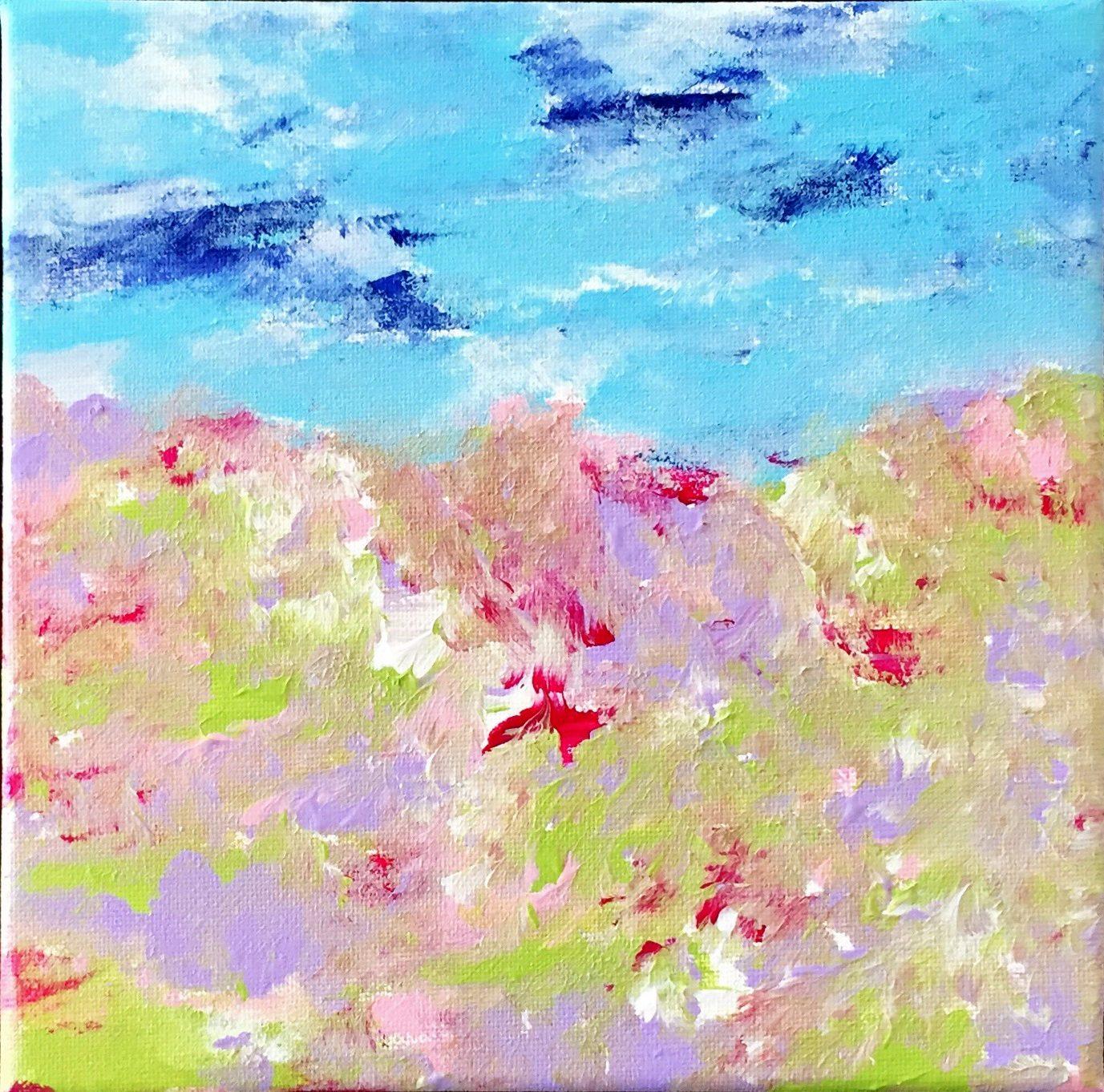 Bild Malerei Kunstwerk SoulArtist Julia Merkt Blumenmeer Blumenwiese Sommertraum